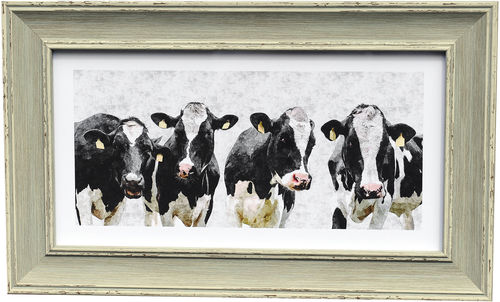 Freisan cow panorama, Blue, available in 3 other frame colours.