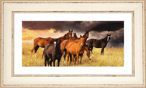 Horses panorama Worn White, available in 3 other frame colours.